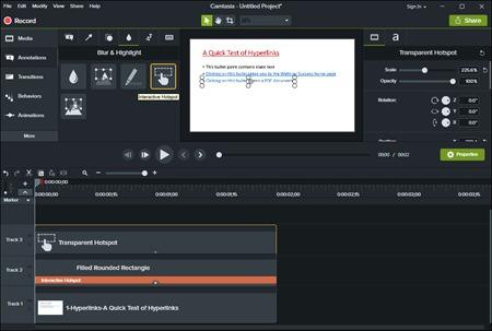 Camtasia Interactive Hotspot