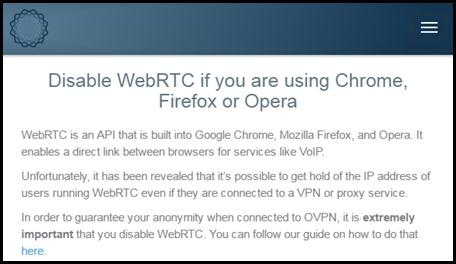 WebRTC OVPN warning