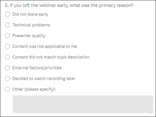 Survey question - Why leave early?
