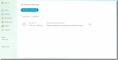 Schedule Webex Meeting - Modern View