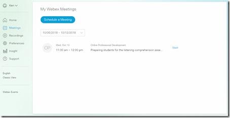 Schedule Webex Meeting - Modern View