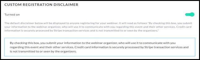 Payment registration disclaimer