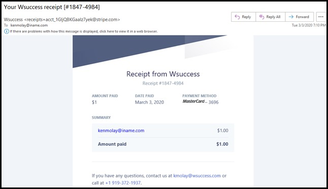 Payment receipt email