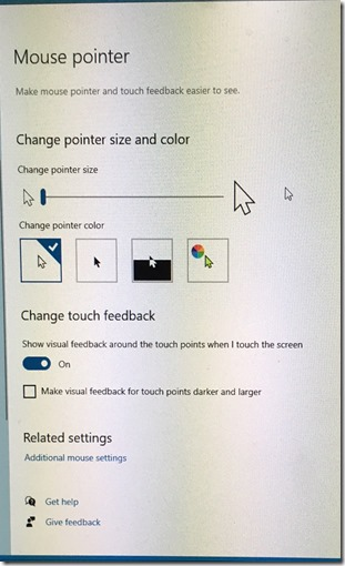 Windows 10 default mouse pointer settings