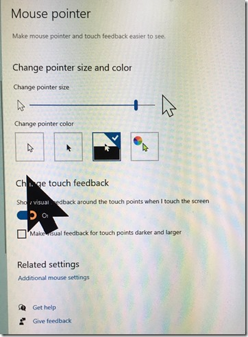 Windows 10 large inverted mouse pointer