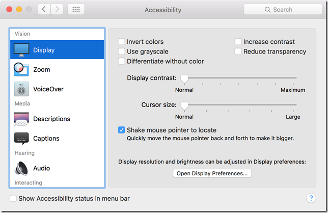 Mac cursor visibility settings panel