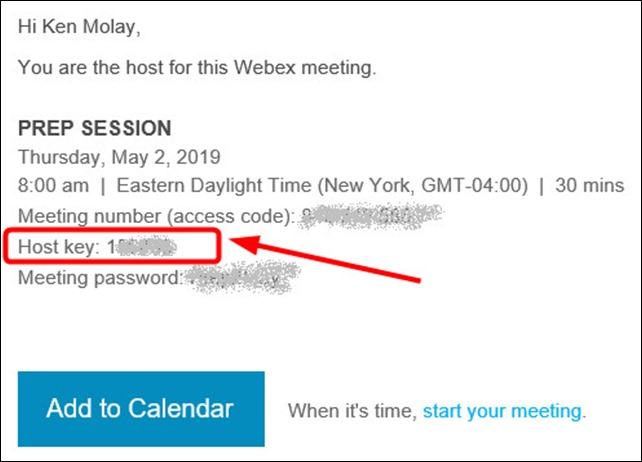 Old Webex host email with key