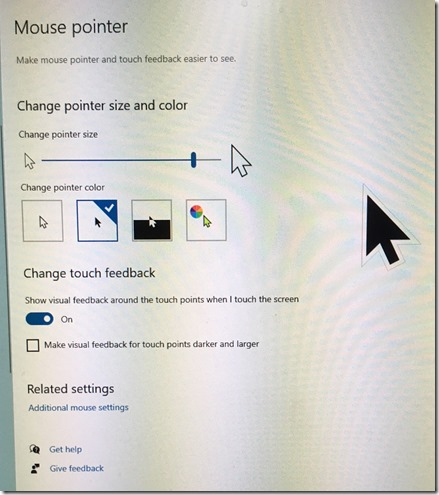 Windows 10 large black mouse pointer
