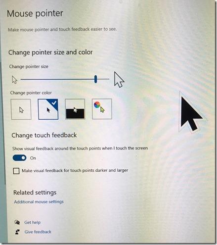 Windows 10 large black mouse pointer