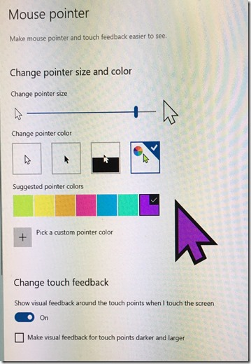 Windows 10 large purple mouse pointer