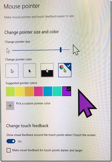 Windows 10 large purple mouse pointer