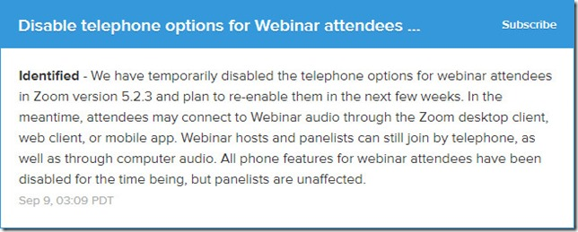 Zoom Notice About Disabled Telephony