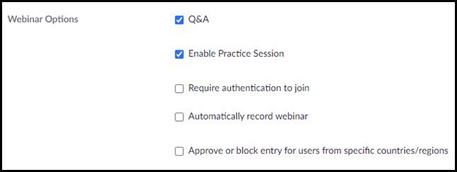 Zoom setup - practice session option