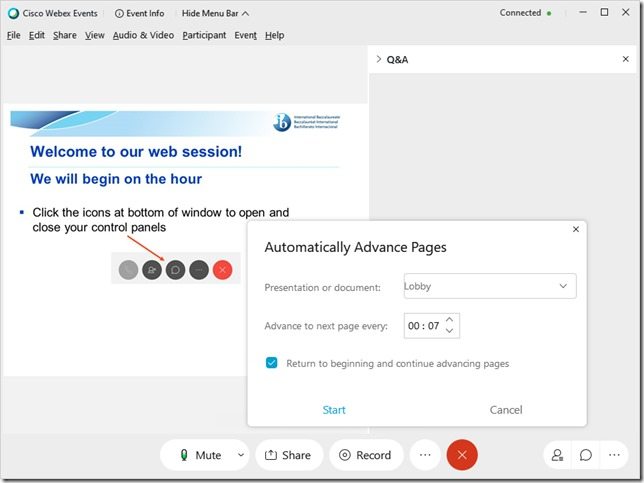 Webex auto-advance lobby slides