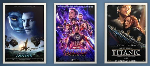 Three blockbuster movie posters