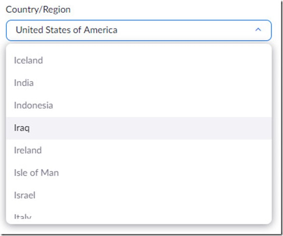 Country list in Zoom