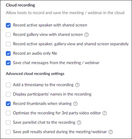 Zoom options for Cloud Recording