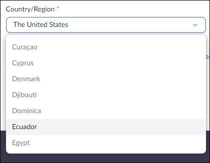 List of country names on Zoom registration